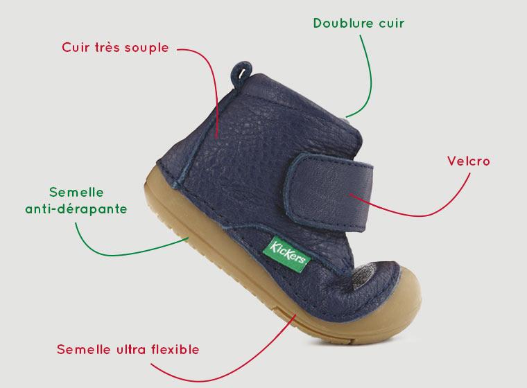 Semelle adaptée chaussures pour bébé 4 pattes de marques